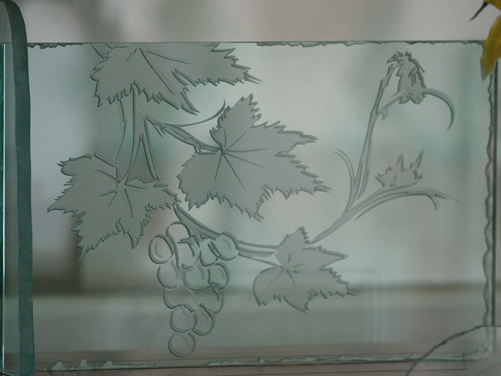 Plaque en verre style feuille de vigne