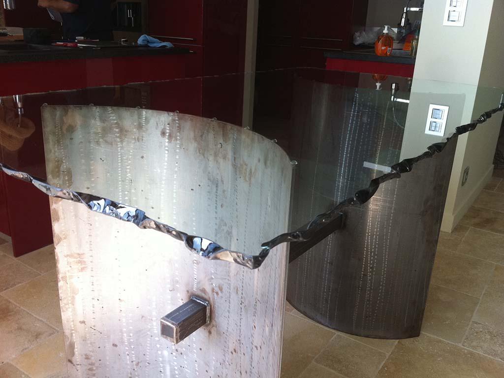 Plateau de table 2300x1100 façonnage bords coquillés