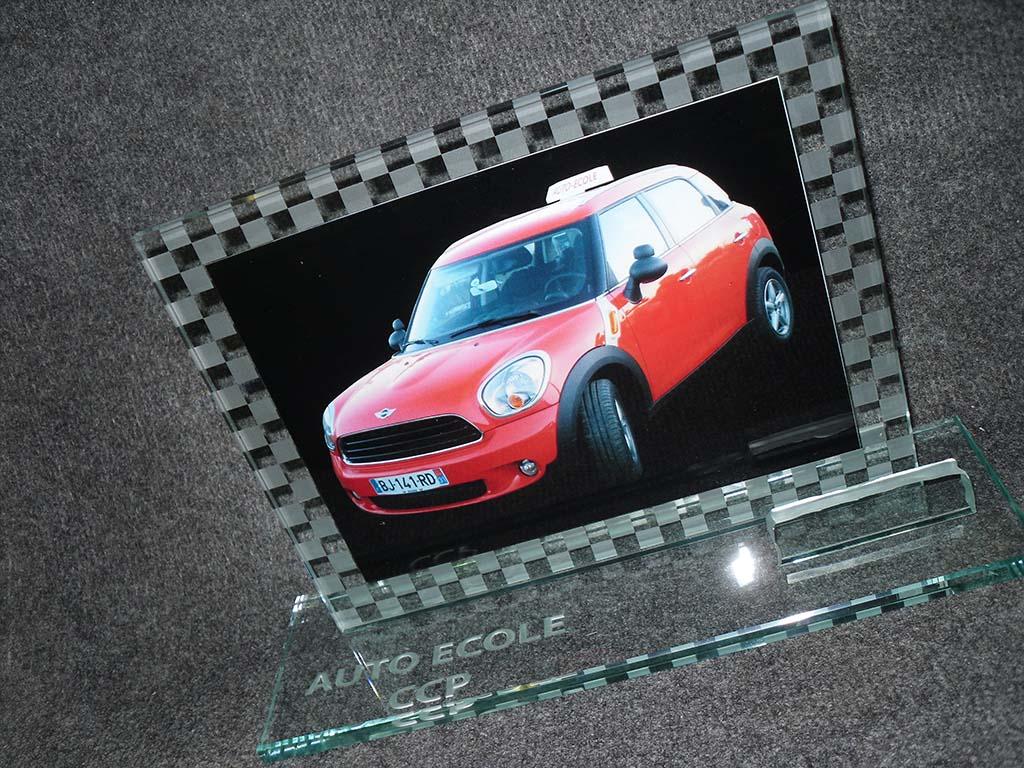 Trophée en verre avec impression numérique