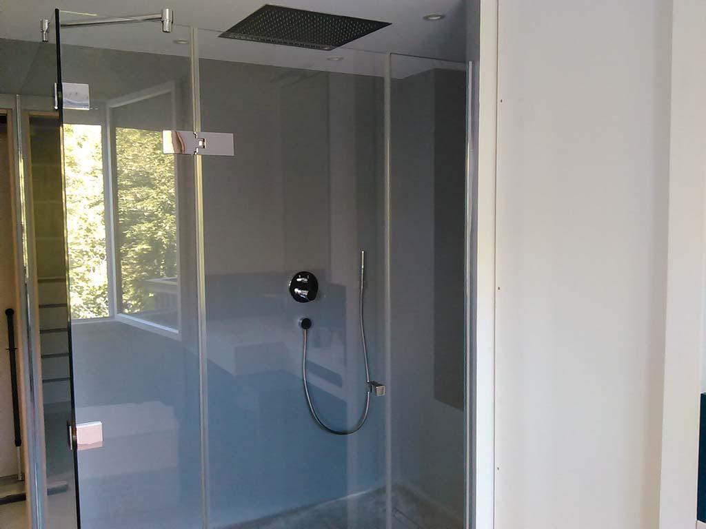 Charniere verre-verre + barre stabilisatrice d'angle