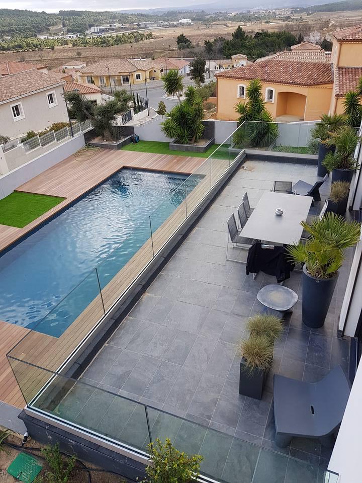 terrasse avec garde corps en verre sans poteaux ni main courante - Copie